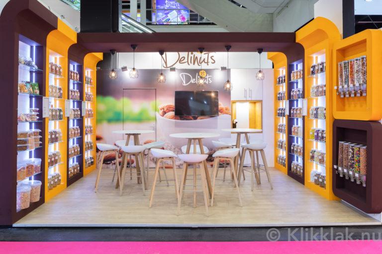 Stand van Delinuts op de ISM 2019 in Köln. Gebouwd door Salut Expo.