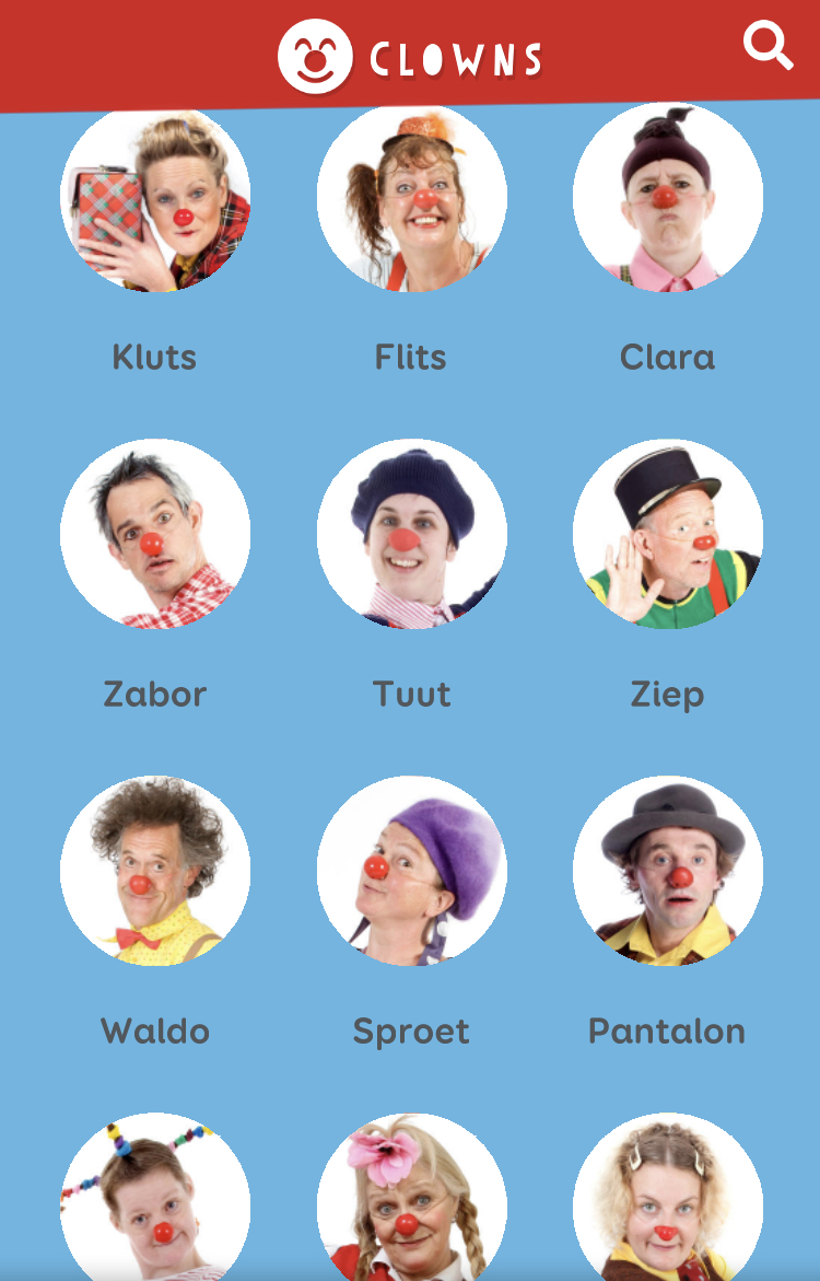 Portretfoto's van de Cliniclowns voor in de app