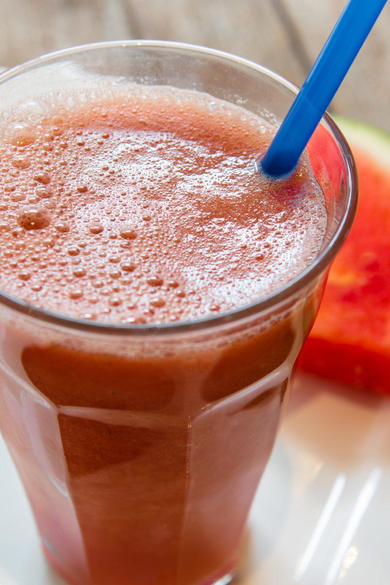 Heerlijke zomerse Milkshake met watermeloen, te verkrijgen bij Quetzal vestigingen