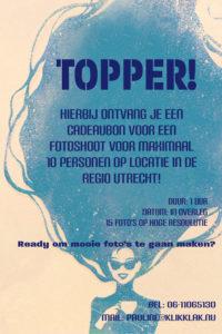 Cadeaubon fotoshoot op locatie Topper blauw