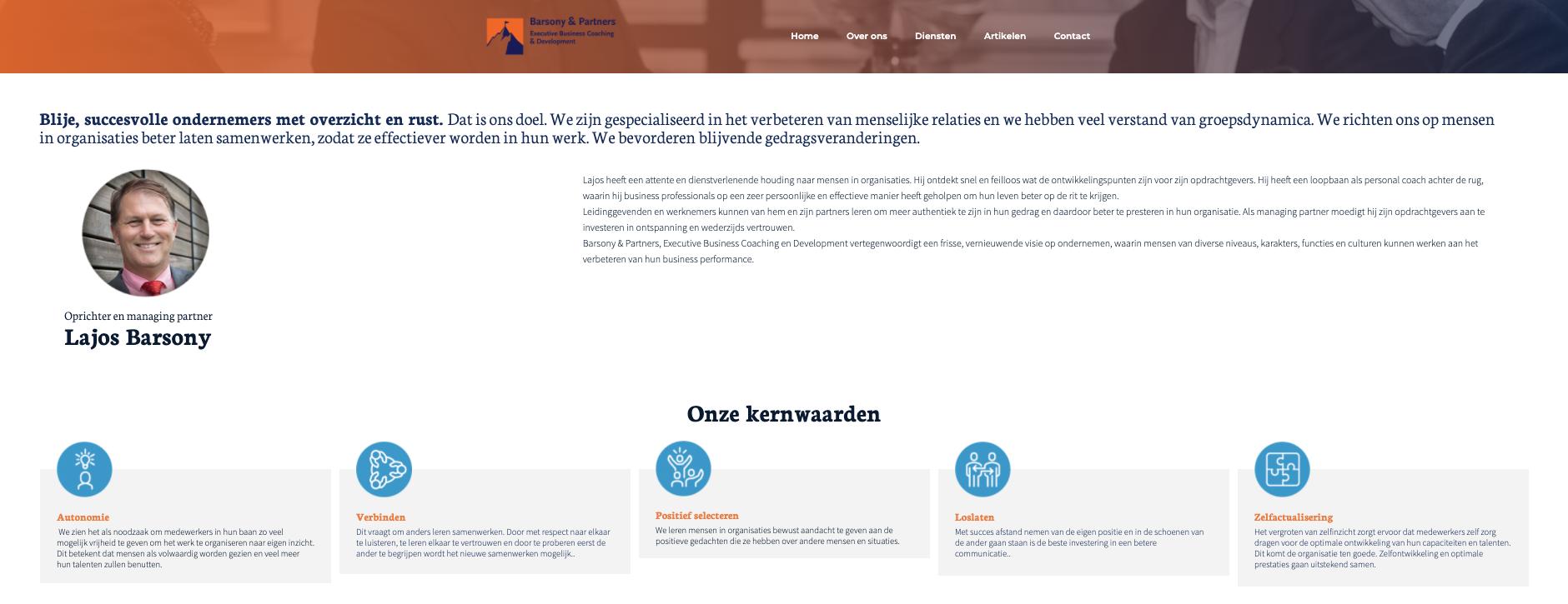 bedrijfsreportage website Barsoney & Partners